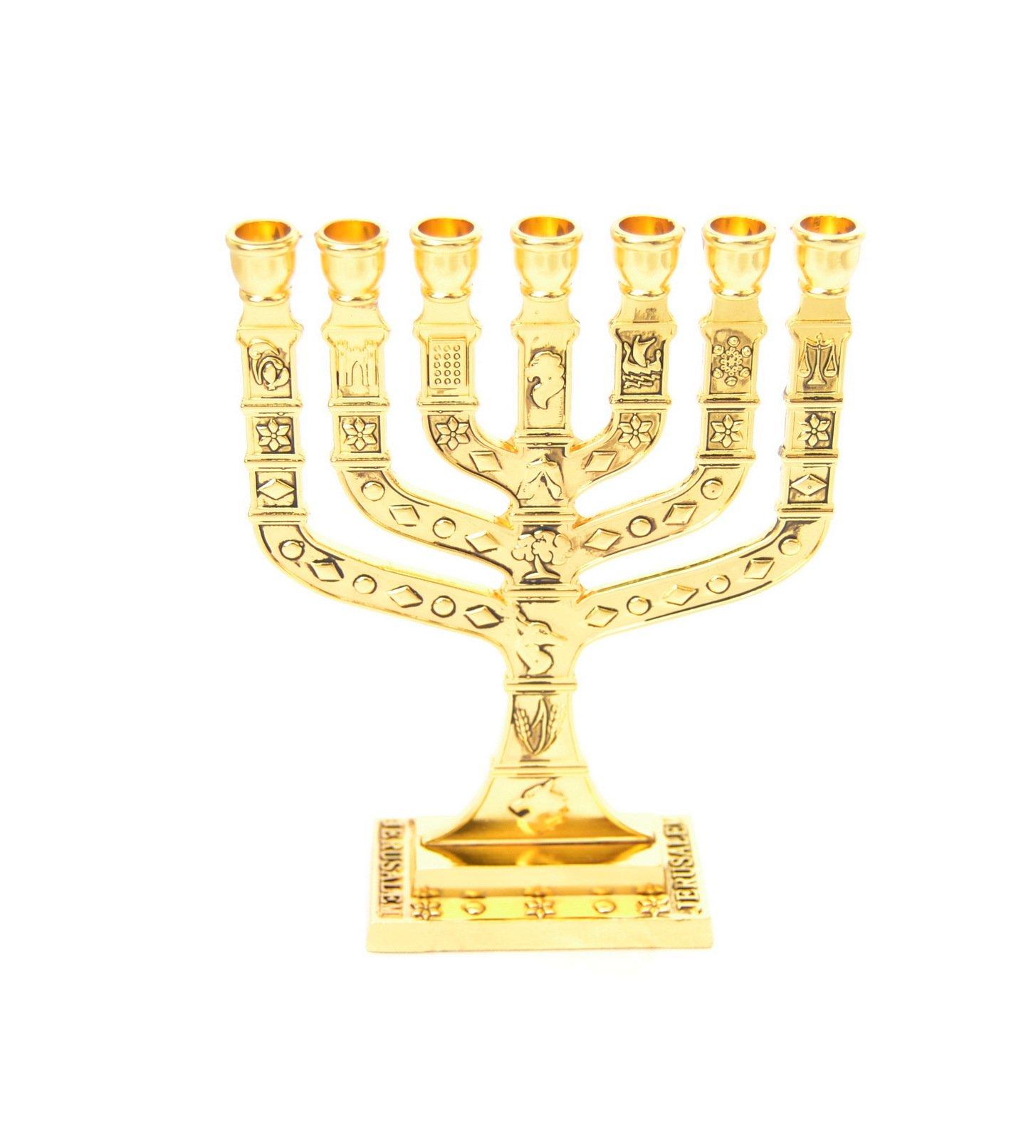 MENORAH, Menora holyland 7 branches Jerusalem 12 Tribes of Israel gold H-4.6''