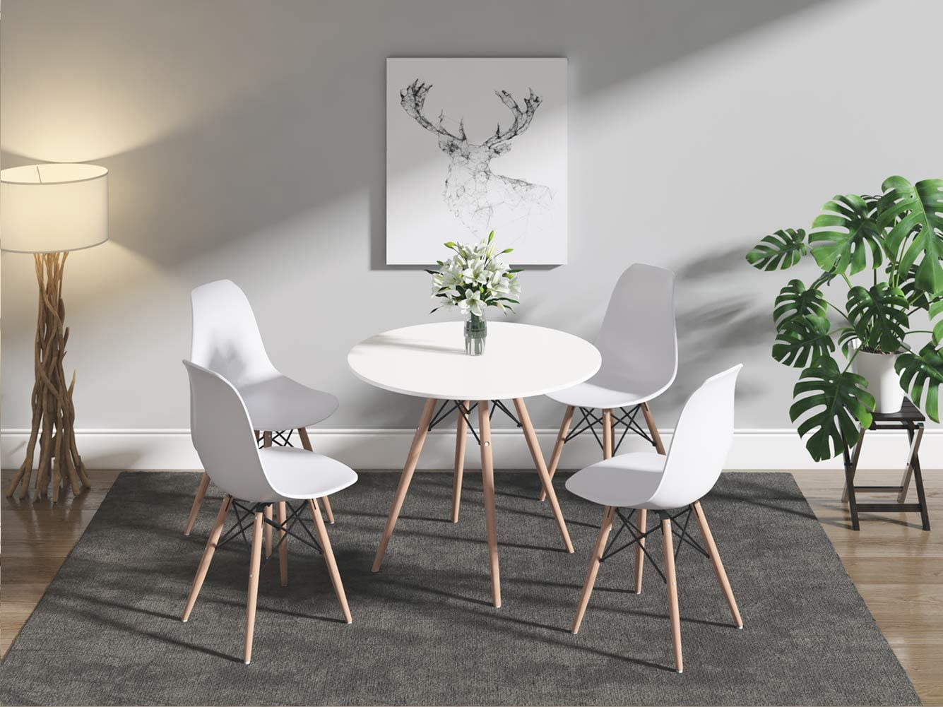 Dining Table and Chairs Set of 7, 7cm Solid Wooden Round Table with Metal  Legs and 7 White Chairs, Dining Room Furniture Set for Home, Office,