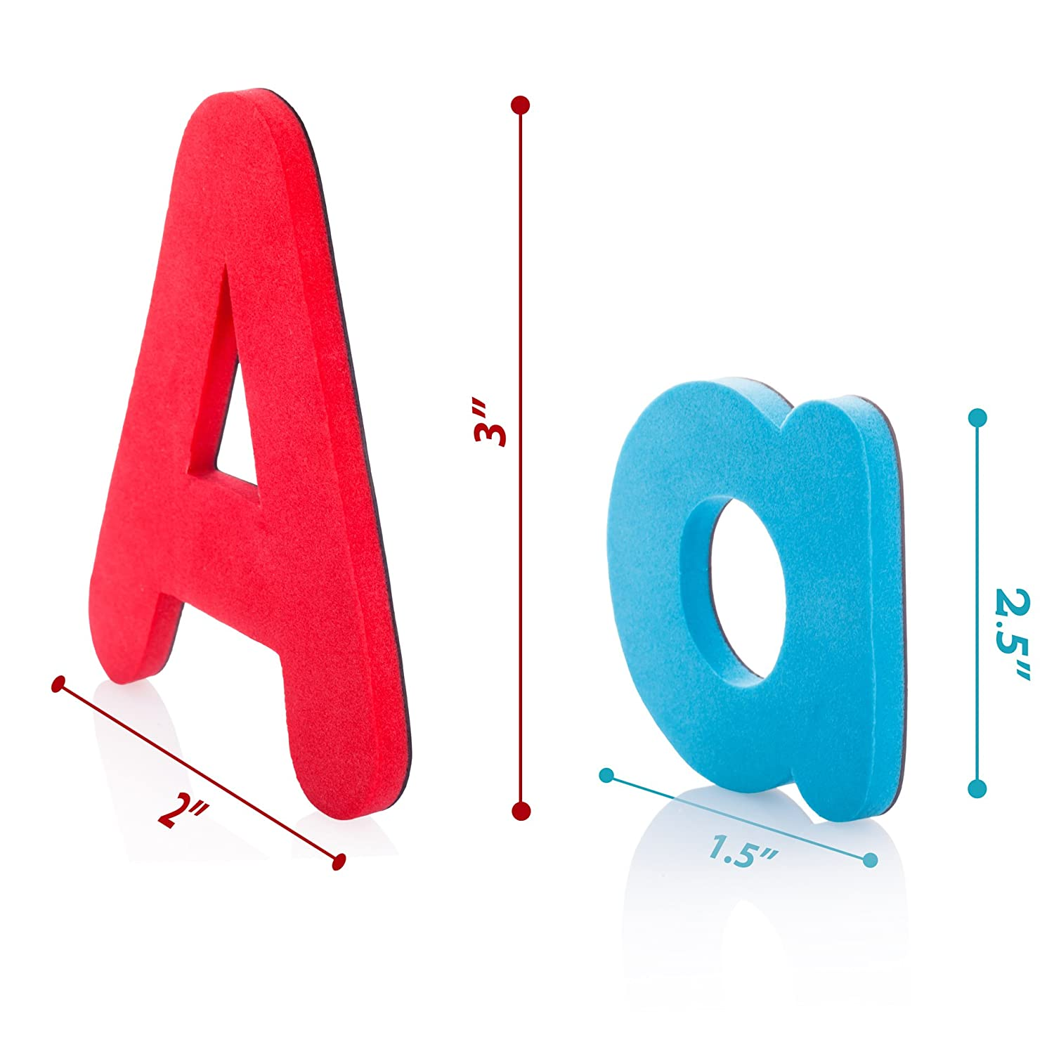 Flexible WISEMU Magnetic Letters Best Alphabet Magnets: Upper and Lower case Refrigerator and Outdoors to use on a Board Non-Toxic Soft Foam ABC Magnets for Kids in a PVC Pencil case 57 Large