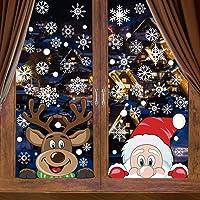 CCINEE 6 Sheets 300 Pcs Christmas Window Clings, Snowflake Reindeer Santa Claus Window Stickers for Christmas Window…