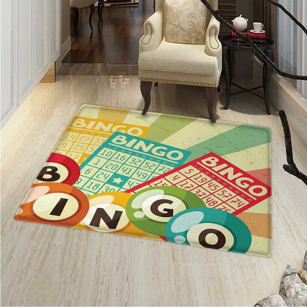 Vintage Rugs Bedroom Bingo Game Ball Cards Pop Art Stylized Lottery Hobby Celebration Theme Circle Rugs Living Room 4'x5' Multicolor