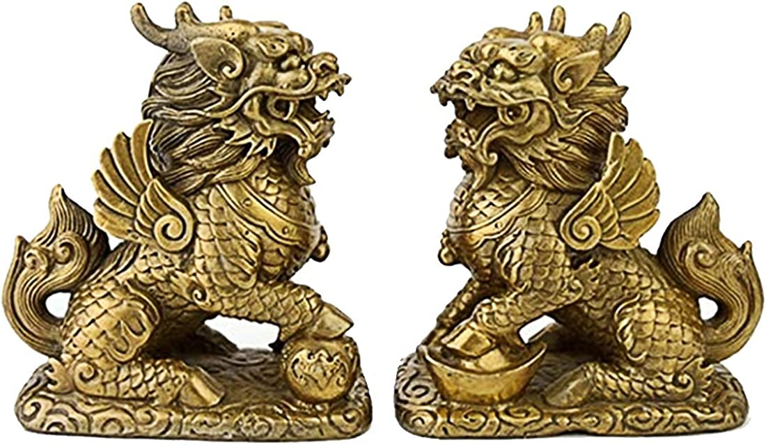 Fengshui Pair 2pcs Brass Chi Lin Kei Loon Qi Lin Statue Free Red String Bracelet M1254