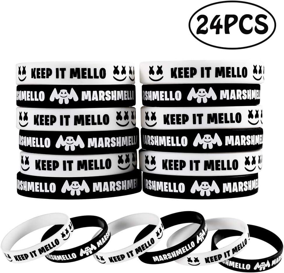 Marshmellow Birthday Party Favor Bracelets Wristband, Keep it Mellow Silicone Bracelets Marshmellow Party Supplies Favors 24PCS