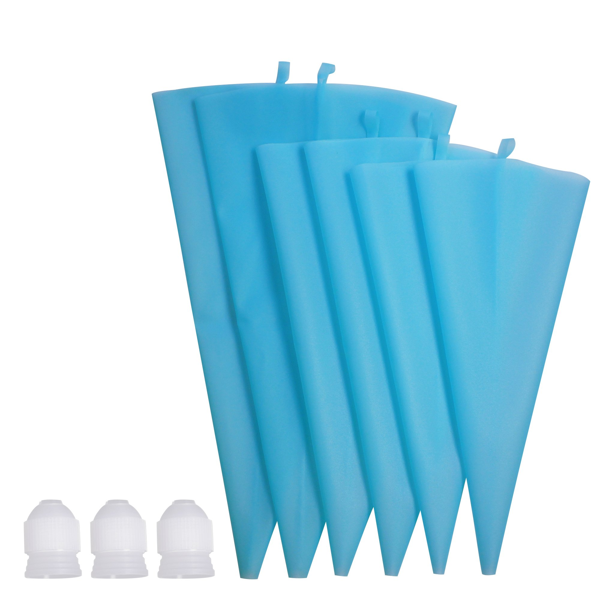 Losska 9Pcs Silicone Pastry Bag Set - 3 Sizes Thickened Reusable Piping Bags (S+M+L) with 3 Icing Couplers for Cake Decorating Tips