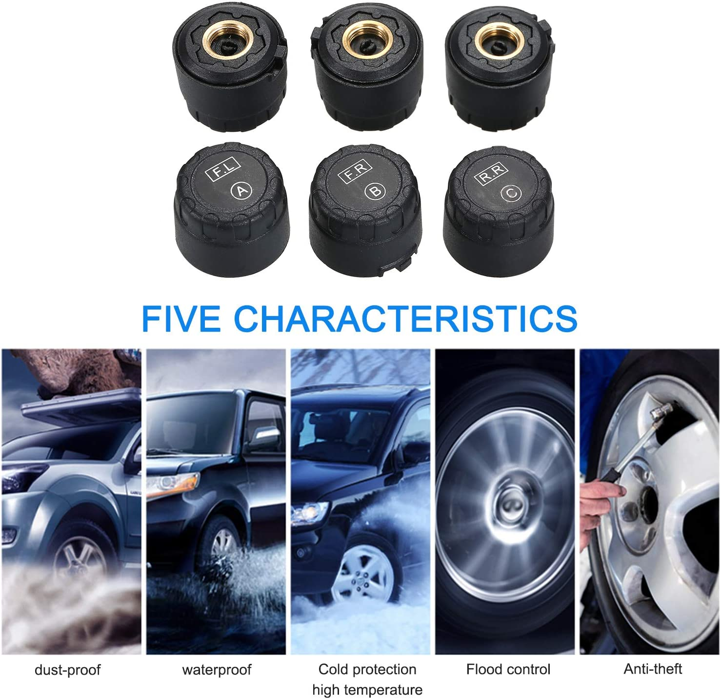 Carrfan Wireless Solar Power TPMS Tire Pressure Monitoring System RV Truck TPMS with 6 External Sensors for 4-6 Tires Car RV Truck Tow Trailers