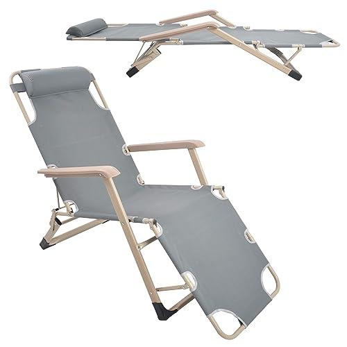 Livebest Beach Lounge Chair Adjustable Reclining Patio Chair