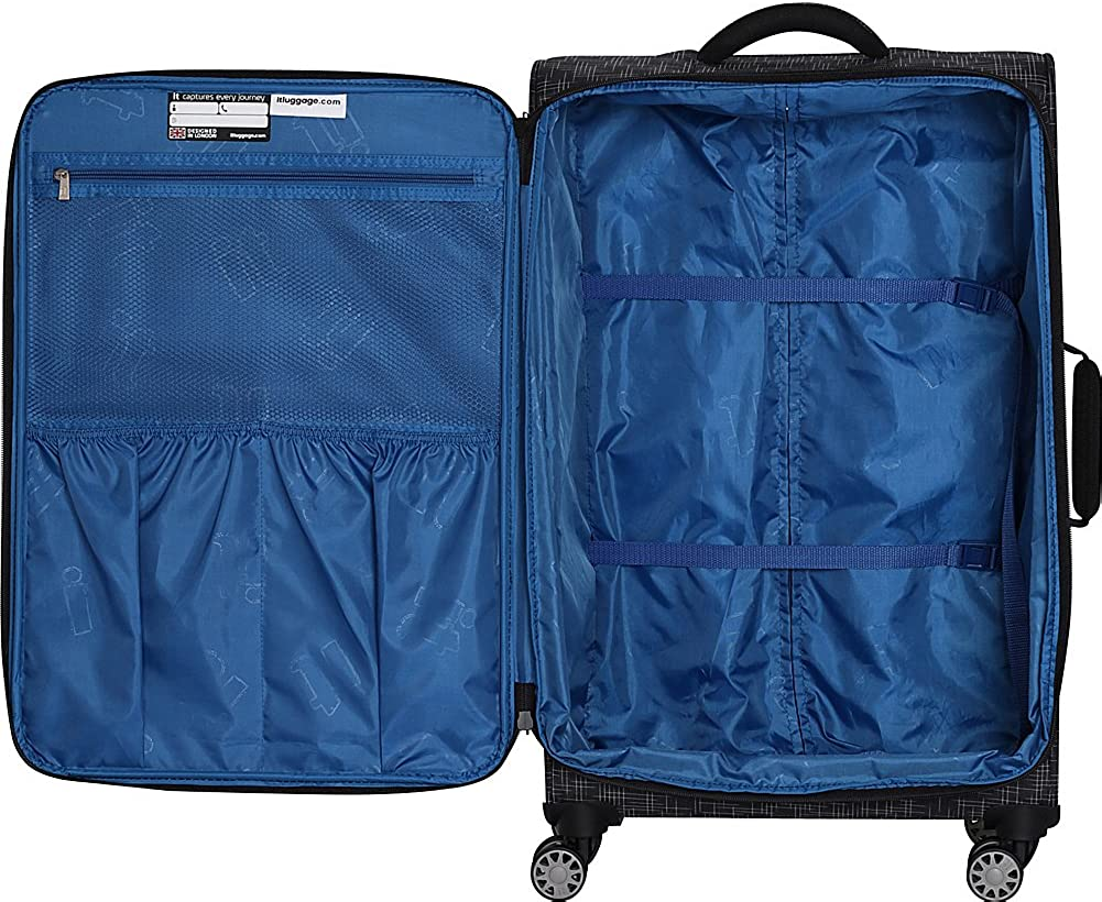 it luggage 21.5 Stitched Squares 8 Wheel Lightweight Expandable Carry-on