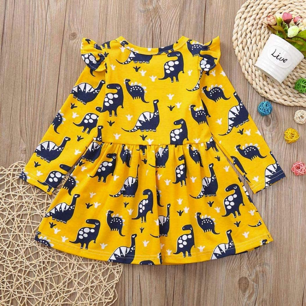 6 to 9 months baby boy clothes eid mubarak baby clothes rugby baby clothes Toddler Kid Baby Girl Long Sleeve Dinosaur Printing Party Dress Outfits Clothes personalised baby clothes infant party dres