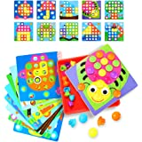 Allas Button Art, Mushrooms Nails Color Matching Mosaic Pegboard Early Learning Educational Toys Set for Boy & Girls
