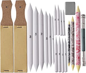 17 Pieces Artist Blending Stumps and Tortillion Blenders + 2 Pieces Sandpaper Pencil Sharpener + 1 Pencil Extension Tool + 1 Pieces Kneaded Rubber Erasers, for Artist Sketch Drawing kit