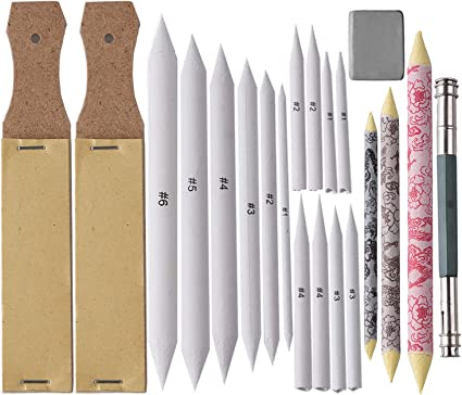 Blending Stumps and Tortillions Set 24 Pieces  Drawing Accessories Set with 2 Pieces Sandpaper Pencil Sharpener and 2 Pieces Kneaded Eraser for Student Sketch Drawing