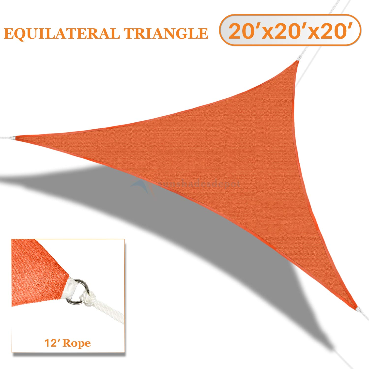 Sunshades Depot 20' x 20' x 20' Orange Sun Shade Sail 180 GSM Equilateral Triangle Permeable Canopy Custom Commercial Standard