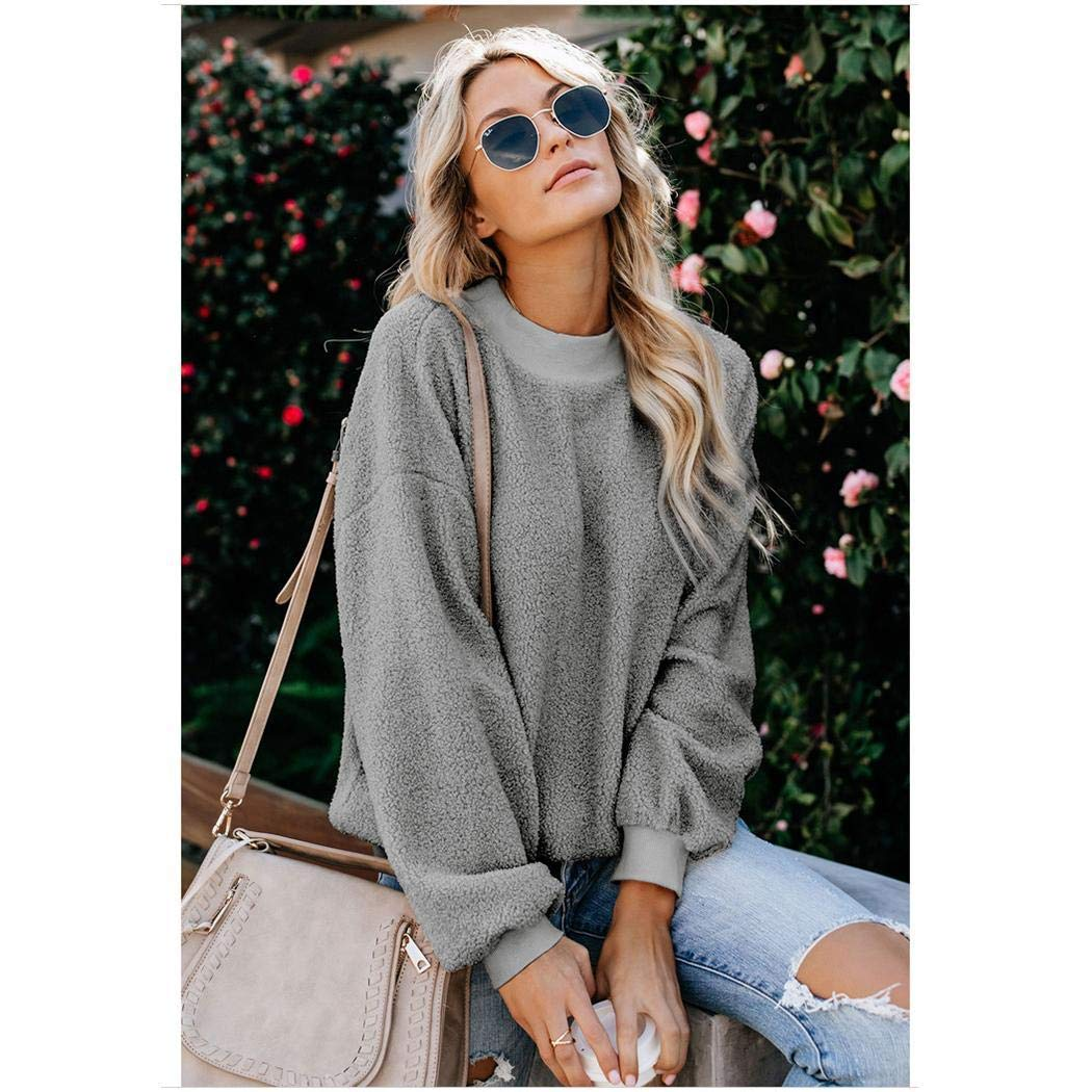 Kindes Women Casual O-Neck Long Sleeve Solid Pullover Sweatshirt Fashion Sweatshirts