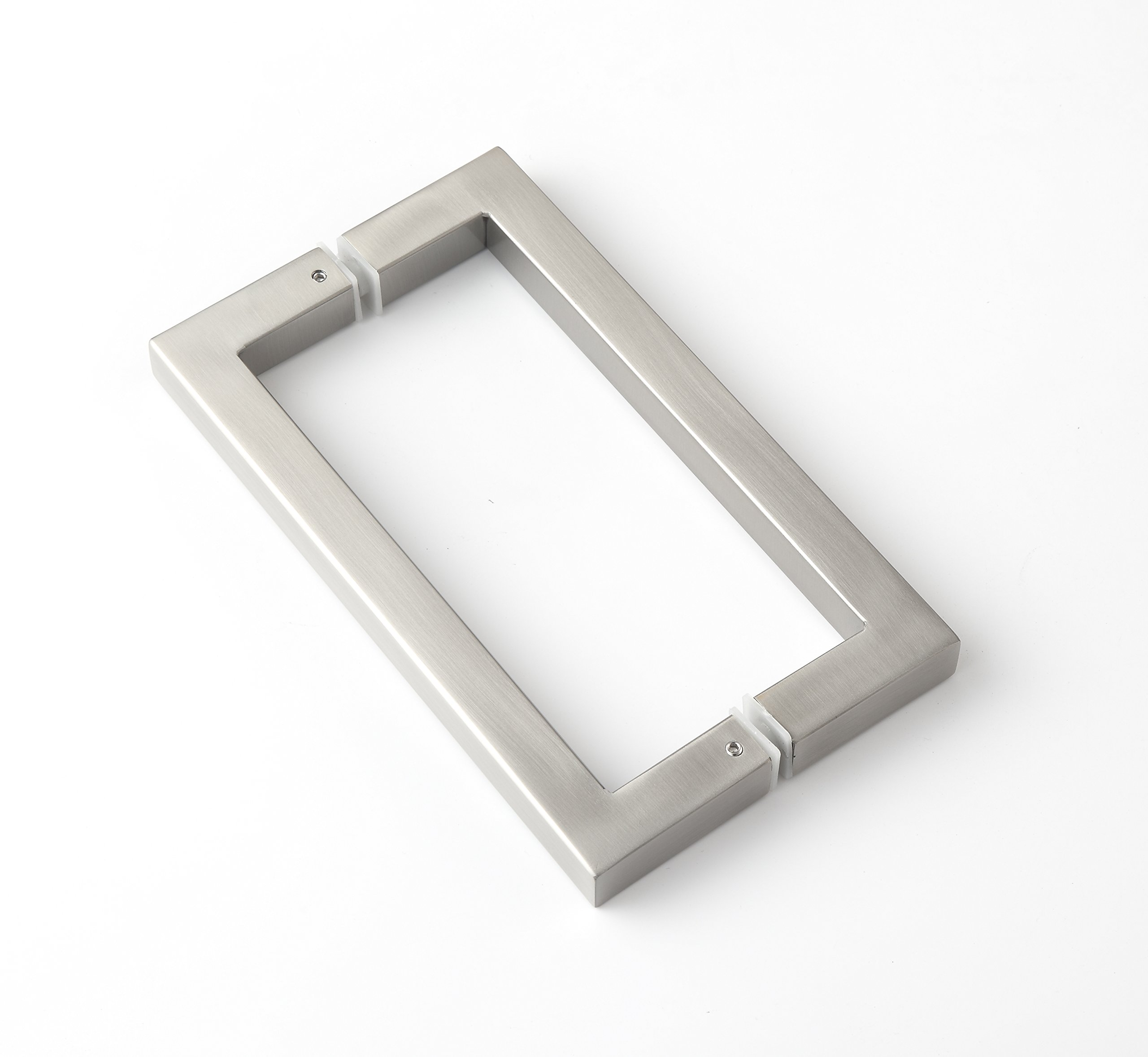Rembrandt - Square 12'' Modern & Contemporary Double Shower Pull Stainless Steel for Entrance/Entry/Shower/Glass/Shop/Store, Interior/Exterior Barn & Gates - Brushed Nickel