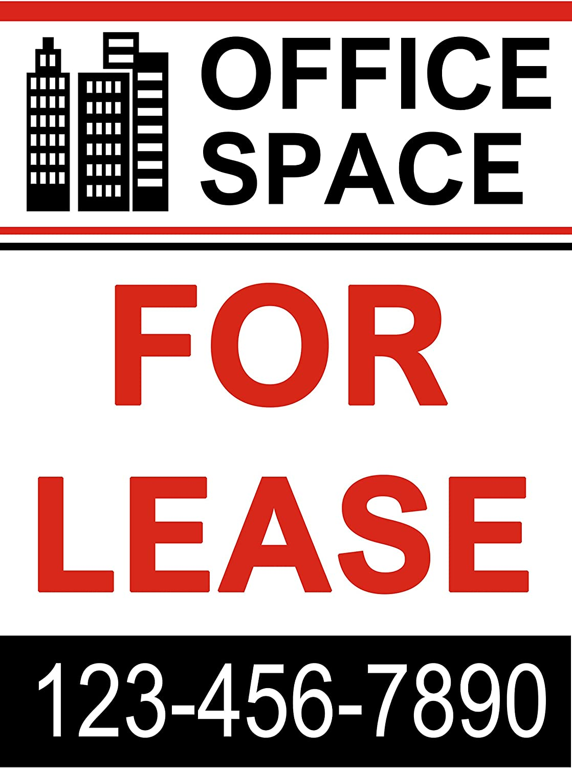 Office Space for Lease Banner Sign 3 x 2 Ft