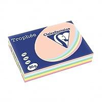 Clairefontaine Trophee Ramette de 500 feuilles papier couleur 80 g A4 Pastel Rose Canari Vert Bleu Saumon