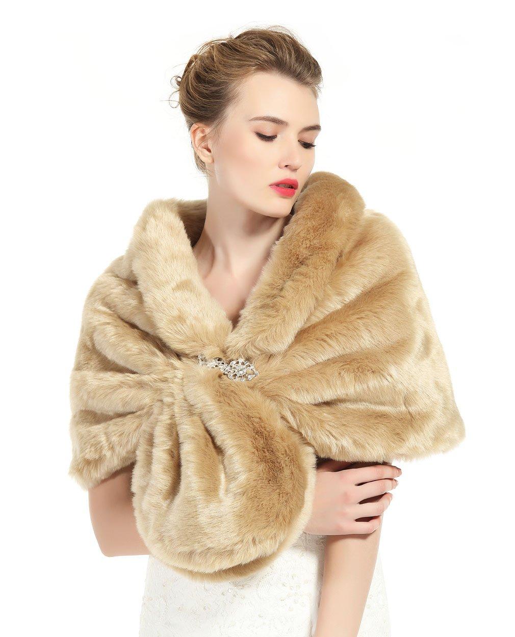 Faux Fur Shawl Wrap Stole Shrug Winter Bridal Wedding Cover Up Khaki Size M