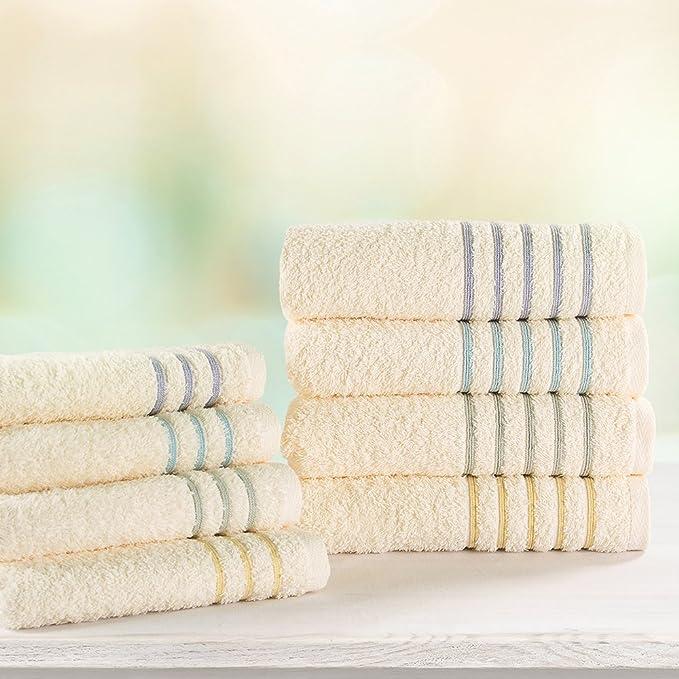 Toalla de baño de algodón moteado serenidad (52 x 26 inch) con borde de color, 500 g/m² por ama de casa (orquídea): Amazon.es: Hogar