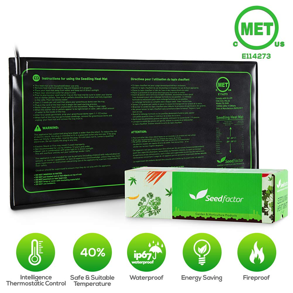 MET certified Seedling Heat Mat, Seedfactor Waterproof Durable Germination Station Heat Mat, Warm Hydroponic Heating Pad for Indoor Home Gardening Seed Starter(10'' x 20'')