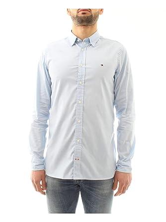 54b50643 Tommy Hilfiger Men's Slim Fit Dobby Cotton Shirt Blue: Amazon.co.uk ...