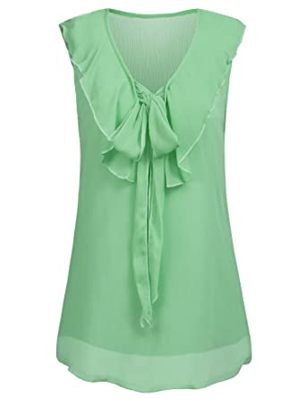 5a72133eee93 Hersife Mint Green Tops Office Casual Chiffon Cami Sleeveless Tank for  Women