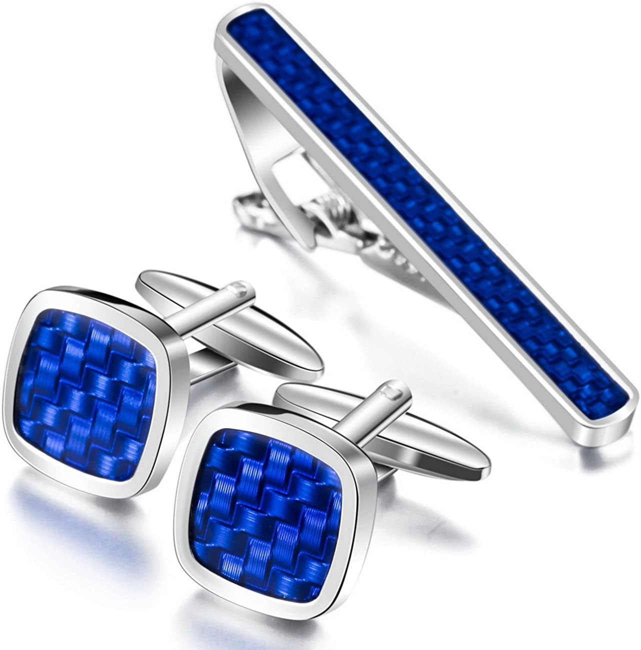 MOWOM Silver Tone Blue Black Rhodium Plated Carbon Fiber Cufflinks & Necktie Tie Clip Bar Set Shirt Wedding
