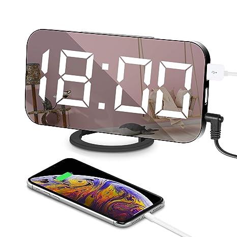 """Despertadores Digitales Multifuncional Reloj 6.5"""" Grande LED Espejo con Puerto USB para Cargador de teléfono"""