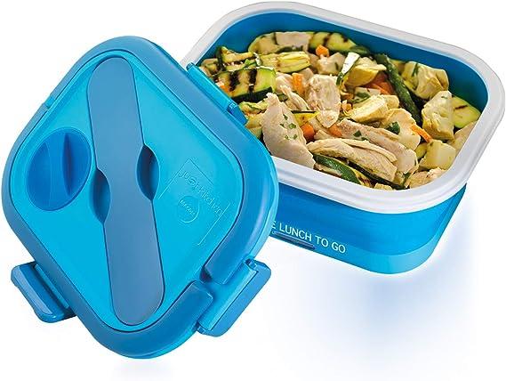 Macom Just Kitchen 864 Space Lunch to Go Hornillo eléctrico plegable Salvaspazio, 35 W, Azul/Blanco