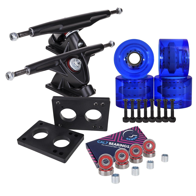 Longboard 180mm Trucks + 70mm Wheels + Bearings Combo SET (Transparent / Blue / Black) by Cal 7