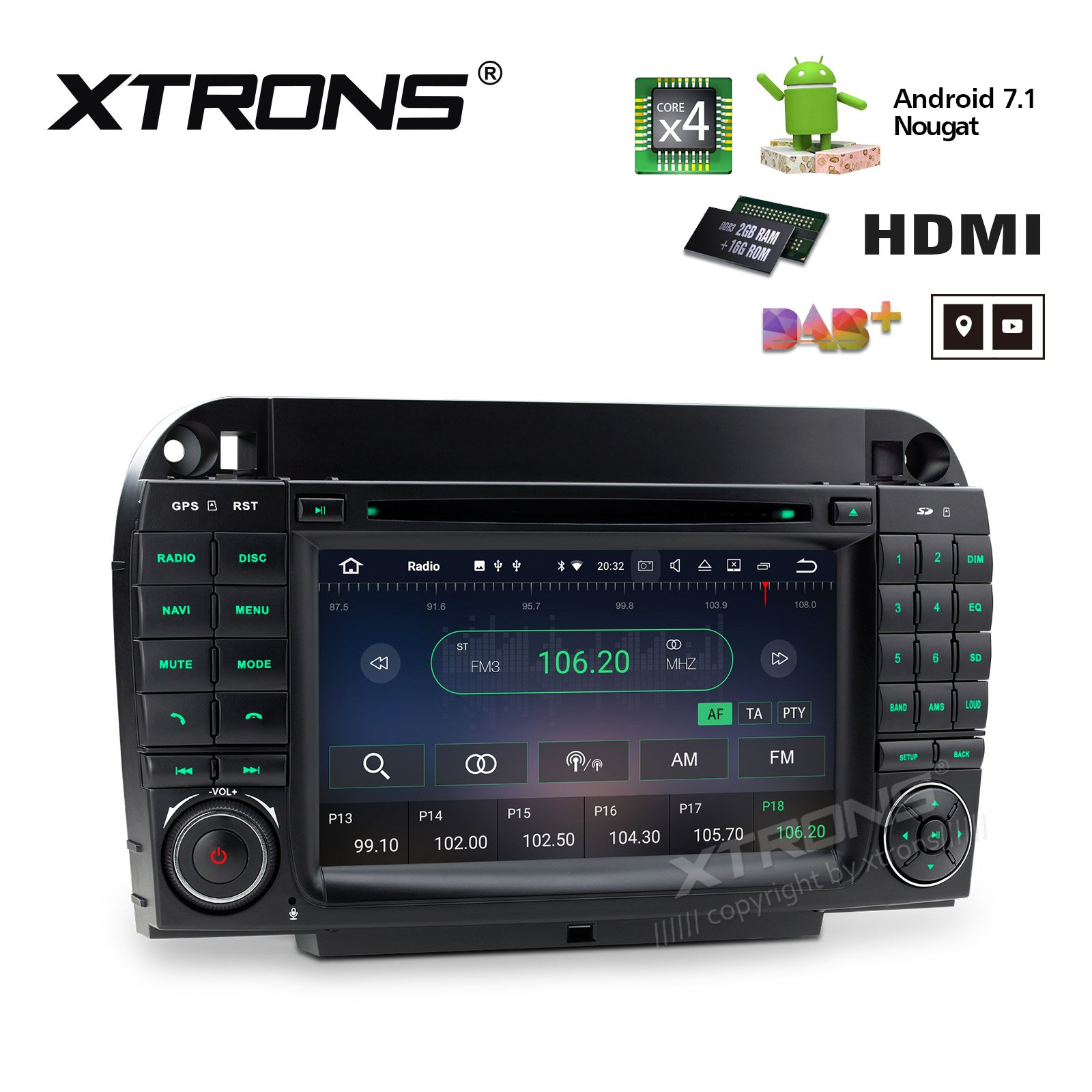 XTRONS HDMI Android 7.1 Quad Core 7 Inch HD Digital Touch Screen Car Stereo Radio DVD Player GPS for Benz S-W220/S280/S320/430/S500 1998-2005