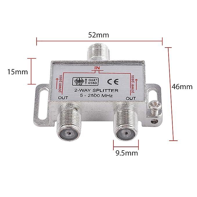 Neoteck 2 V/ías Splitter TV Combinador de Cable Kit de Splitter de Banda Ancha 1 Entrada 2 Salida Macho a Hembra Cable Coaxial Adaptador de Splitter con Cable coaxial de 1,5 m Cable F