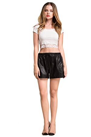 HIKA American Apparel Light Weight Modal Short Sleeve Lace Slim Fit Crop Top X-Large White