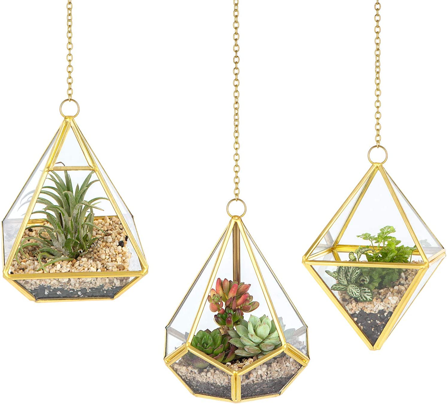 Mkono 3 Pcs Small Hanging Glass Terrarium Geometric Container Vertical Modern Planter Windowsill Decor DIY Display Box Centerpiece Gift for Succulent Fern Moss Air Plants Miniature Fairy Garden, Gold