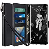 Galaxy S8 Case, LK [Wrist Strap] Luxury PU Leather Wallet Flip Protective Case Cover with Card Slots and Stand for Samsung Galaxy S8 (Black)