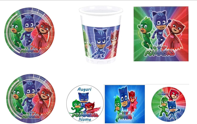 PJ MASKS Super pigiamini coordinato addobbi Día – Kit N ° 28 cdc- (16 platos, 16 vasos, 20 servilletas, 1 cialda de Ostia personalizable)