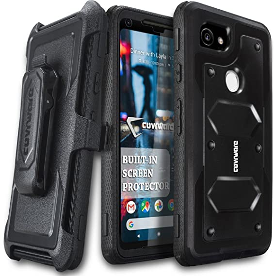 sale retailer 05bbc f1cf9 Google Pixel 2 XL Case, COVRWARE [Aegis Series] w/Built-in [Screen  Protector] Heavy Duty Full-Body Rugged Holster Armor Case [Belt Swivel ...
