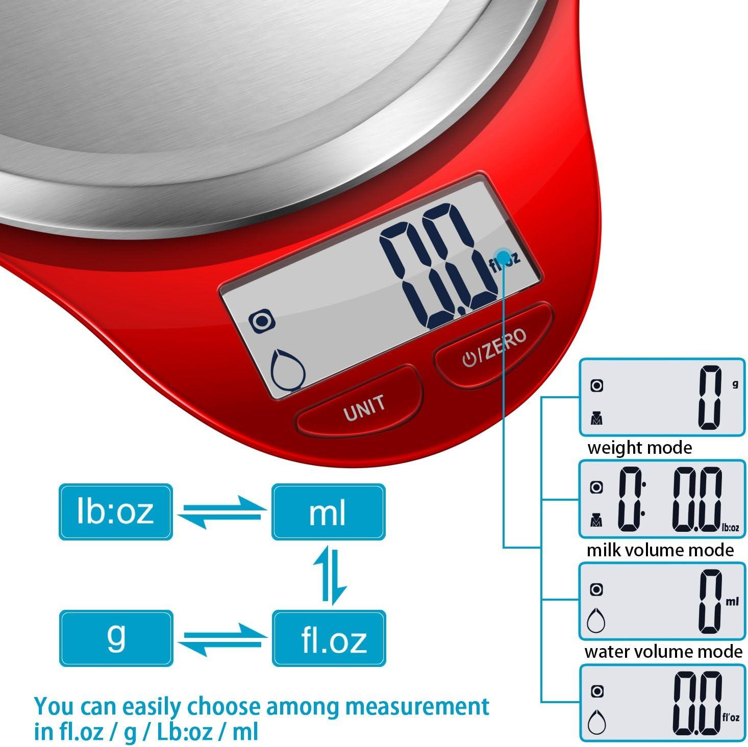 Balance Alimentaire Num/érique Plateforme Acier Inoxydable /Écran LCD Light Pink Auto-Arr/êt 5kg//11lb,Haute Pr/écision,Fonction Tare CAMRY Balance de Cuisine Electronique