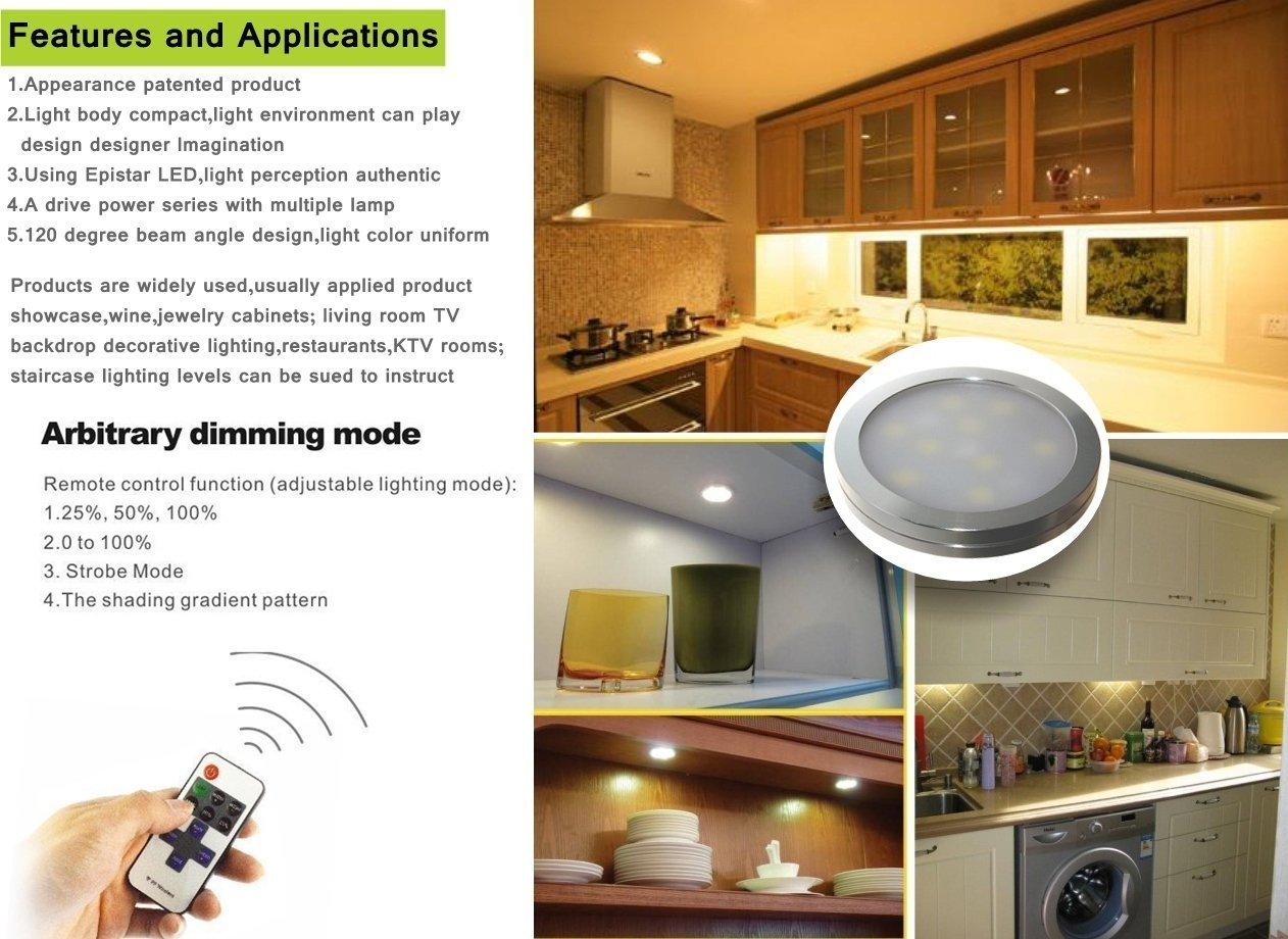 Do you already have led lighting inside the house part 1 come - Xking 6 Puck Lights Led Wireless Kitchen Under Cabinet Lighting Dimmable With Rf Remote Controller Dc12v Total 12w Warm White Amazon Com