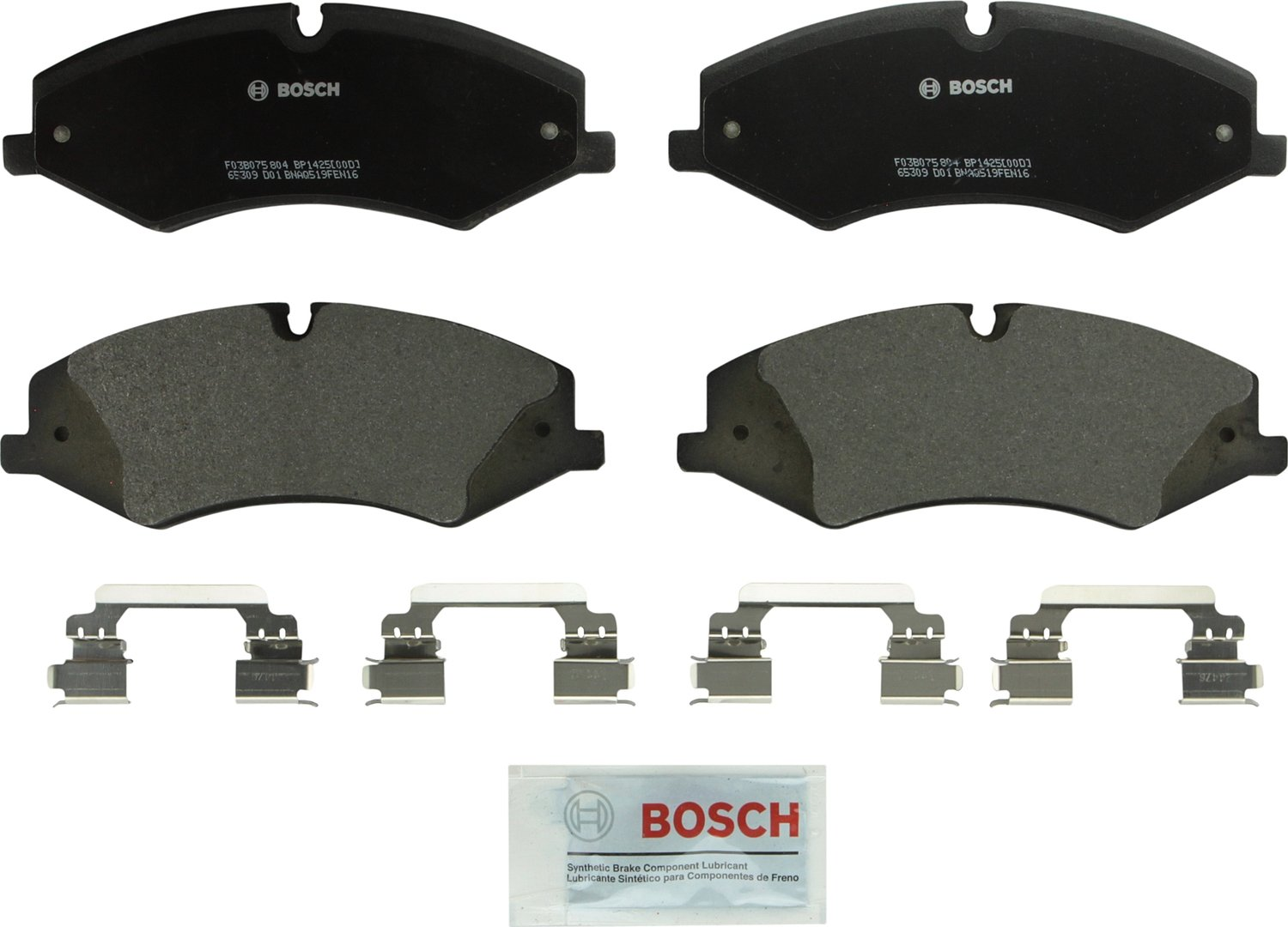 Bosch BP1425 QuietCast Premium Semi-Metallic Disc Brake Pad Set For Land Rover: 2017 Discovery, 2010-2016 LR4, 2010-2017 Range Rover, 2010-2017 Range Rover Sport; Front
