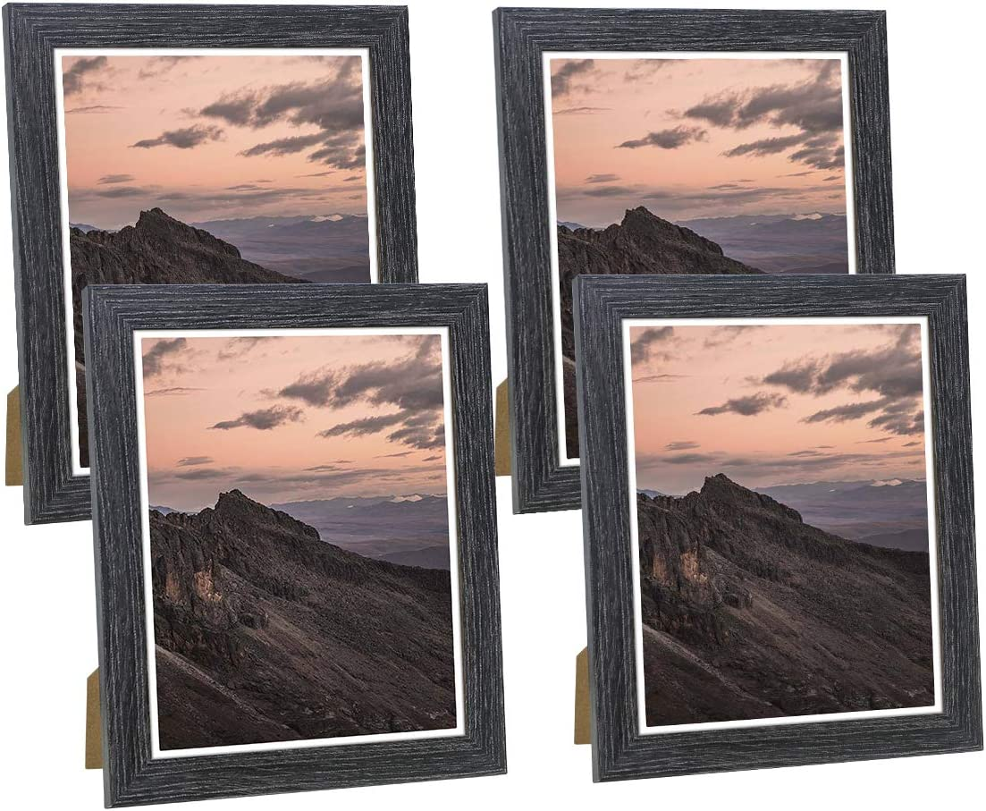 NUOLAN 8x10 Picture Frame Weathered Black Wood Pattern Photo Frames for Wall or Desk Display, 4 Packs(NL-PF8x10-DG)