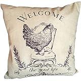 Iuhan Fashion Chicken Pillow Case Sofa Waist Throw Cushion Cover Home Decor (C)