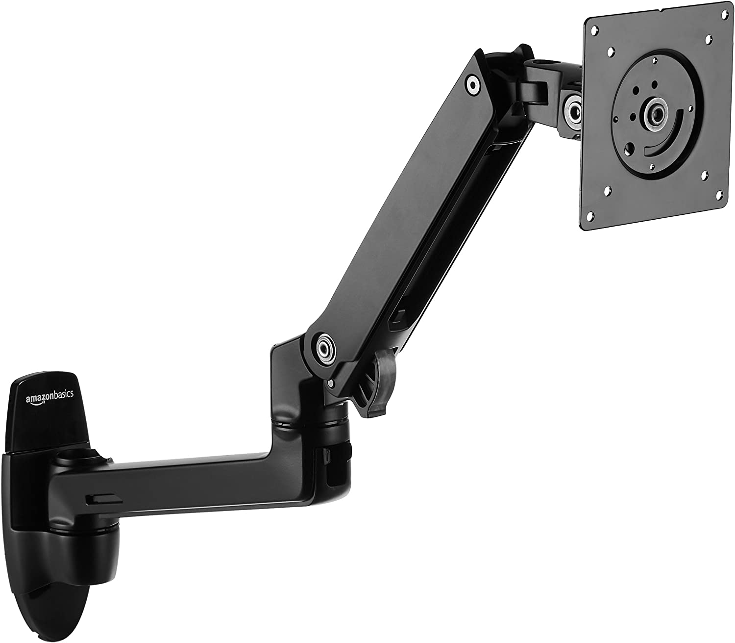 AmazonBasics Premium Wall Mount Monitor Stand - Lift Engine Arm Mount, Aluminum, 2 Pack