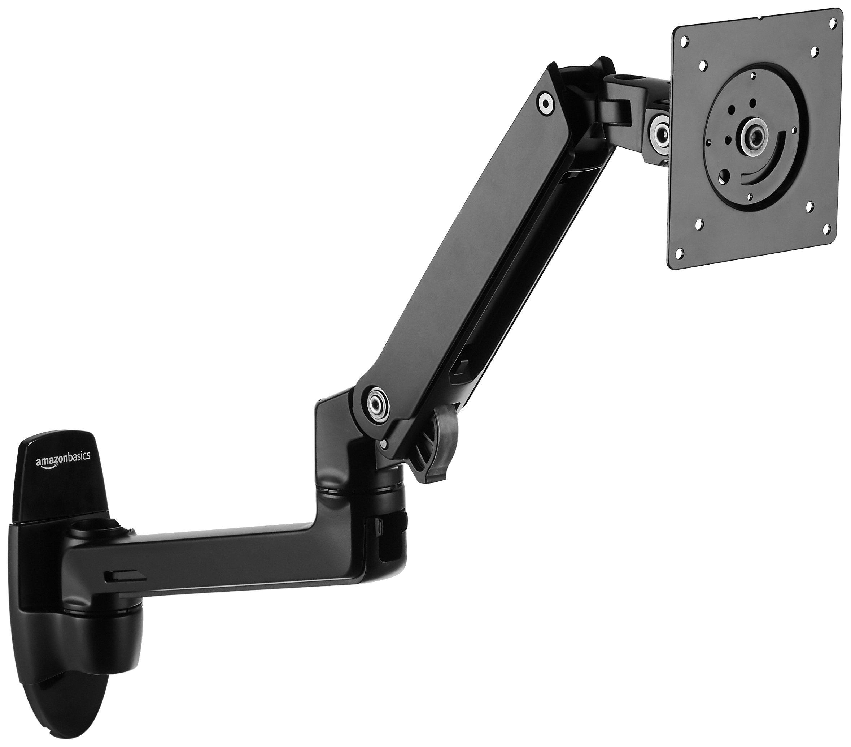 AmazonBasics Premium Wall Mount Monitor Stand - Lift Engine Arm Mount, Aluminum