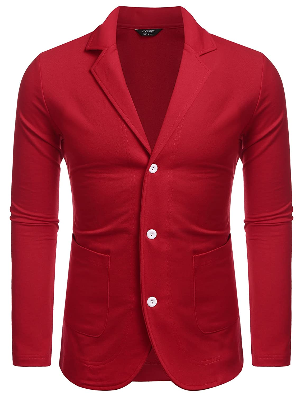 JINIDU Men's Lightweight Cotton 3 Button Casual Suit Blazers Jacket Sport Coats CXJ006586