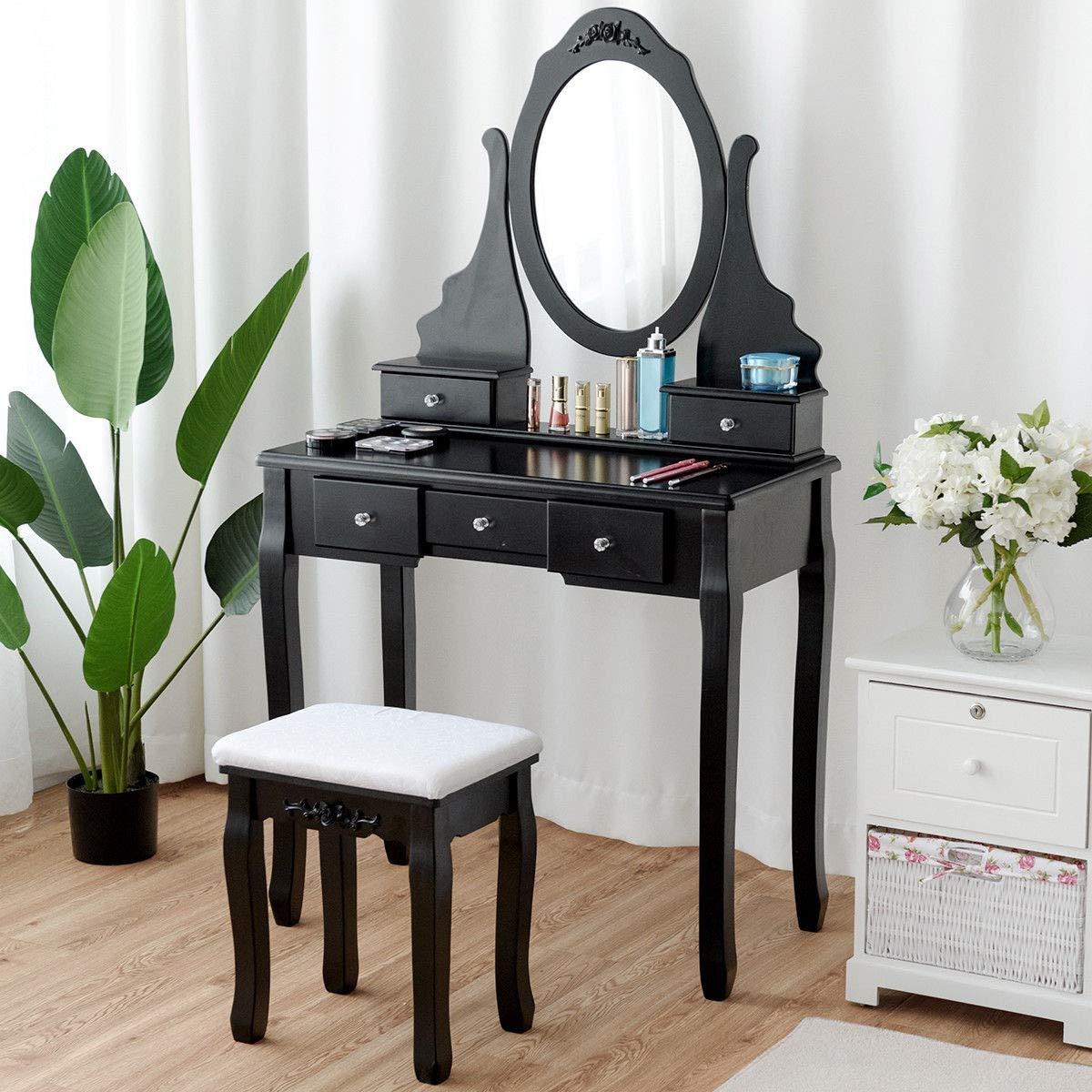 - Amazon.com: Black Mirrored Jewelry Wooden Vanity Table Set With 5