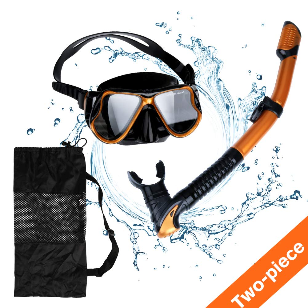 AriTan Snorkeling Snorkel Package Set, Anti-Leak Anti-Fog Coated Glass Diving Panoramic View Clear Tempered Glass Mask, Dry Top Soft Mouthpiece Snorkel Tube, Snorkeling Gear Bag (Golden, Two-Piece) by AriTan