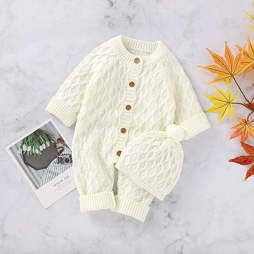 Barboteuse en tricot pour nouveau-n/é bonnet et combinaison de neige pour gar/çons et filles