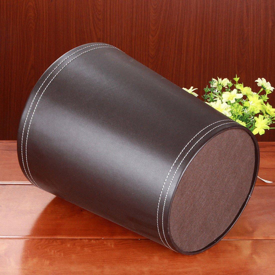 Runden Abfalleimer f/ür B/üro//Badezimmer//k/üche//Schlafzimmer 24,5 * 24,5 * 28 cm Leder Papierkorb M/ülleimer 7 Liter