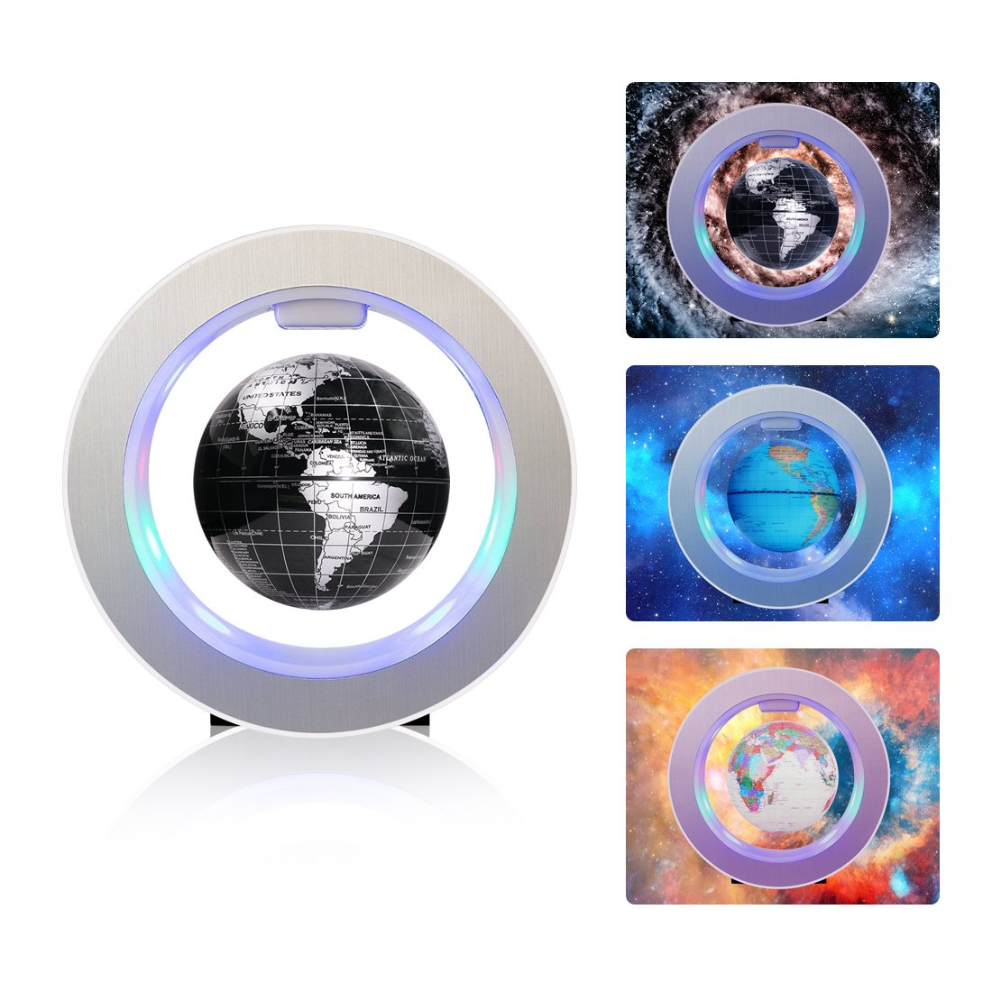 Magnetic Floating Globe 4inch Rotating Mysteriously Suspended in Air World Map with LED Lights for Children Gift Home Office Desk Decoration (Black)
