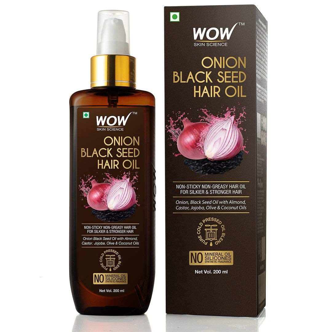 WOW Onion Black Seed Hair Oil for Natural Hair Care and Growth, Essential Vitamins In Almond, Castor, Jojoba, Olive & Coconut Oils For Dry Scalp and Hair, Slow Down Hair Loss, Thicker Eyebrows, 200mL